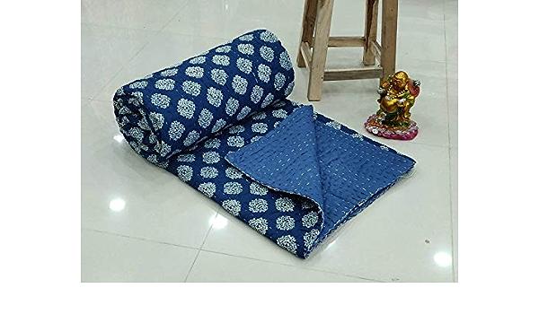 Indian Indigo Bedcover Twin Handmade Hand Block Print Quilt Indigo Print Kantha Bedcover Reversible Kantha Blue Throw Quilt