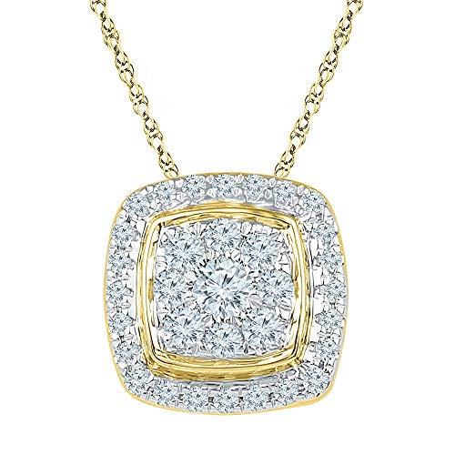 Gold Diamond Square Pendant - The Diamond Deal 10kt Yellow Gold Womens Round Diamond Square Cluster Fashion Pendant 1/2 Cttw