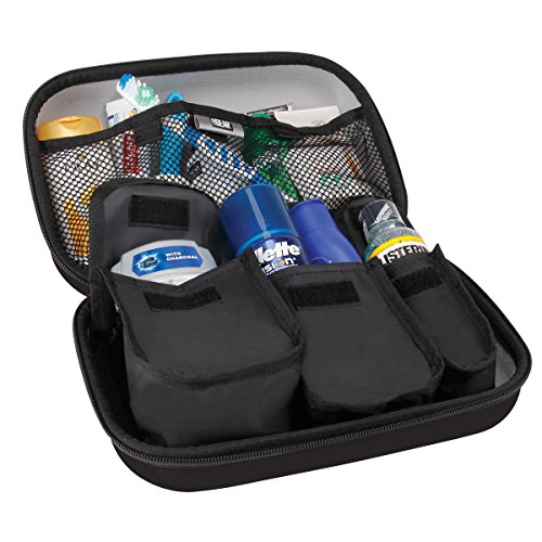 Toiletry Travel Bag Organizer Kit with Customizable Storage Pockets & Protective Hard Shell by USA GEAR - Perfect for Carrying Shampoo , Conditioner , Body Wash , Shaving Supplies & More - Nylon Shell Ripstop
