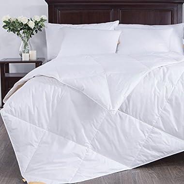 Puredown Lightweight White Goose Down Blend Comforter Duvet Insert 100% Cotton Fabric, Full/Queen Size, White