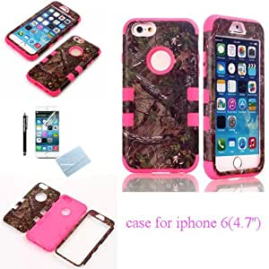 For iphone 6 armor cases, SunnyFlower Tough Armorbox Dual Layer Hybrid Hard/Soft Protective Real Brown Tree Branches Camo Hybrid Pattern Case for Apple iPhone 6 4.7 inch Fashion Silicon + PC 3-Piece Style Hard Cover with Screen Protector and Stylus (Hot Pink)