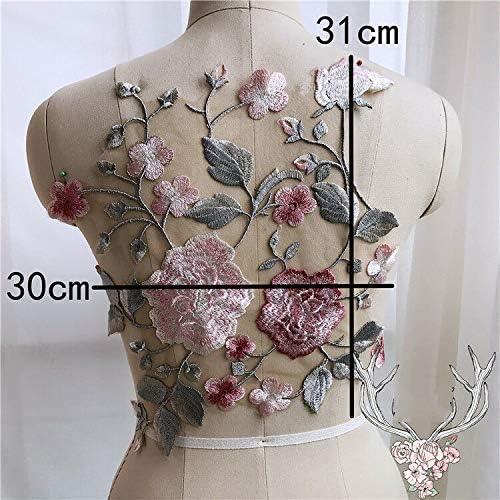 3D-Stickerei 30 x 31 cm zum Aufn/ähen Gro/ße Blumen-Spitzen-Applikation f/ür Hochzeitskleid Dekoration