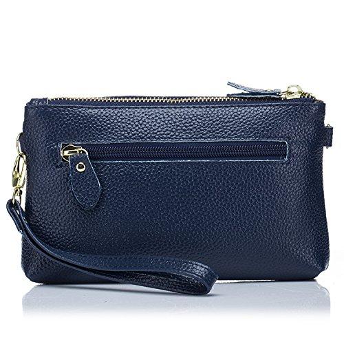 Women��s Leather Shoulder Clutch Double Sapphire Zipper SEALINF Crossbody Bag Mini Handbag adwUq7