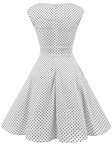 Soire 50 Robe Hepburn Cocktail de Black Dot White Dresstells Vintage Audrey Rockabilly Annes Small 1950's Style Swing AYwvWRqf