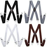 BABEYOND 4pc X-Back Suspenders Set with Adjustable Metal Clips Various Design Unisex Suspender (Style 2)