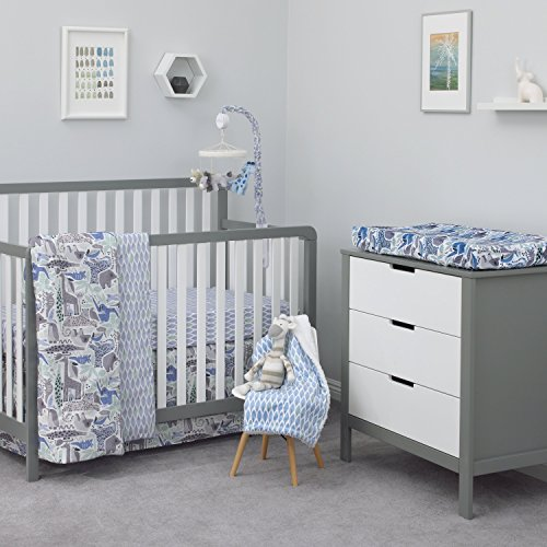 Dwell Studio Safari Skies Animal/Jungle 3 Piece Crib Bedding Set, Blue/Gray/Green/Taupe