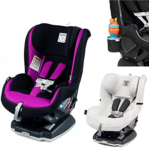 Peg Perego Primo Viaggio Infant Convertible Car Seat w Clima Cover, White & Cup Holder (Fleur)