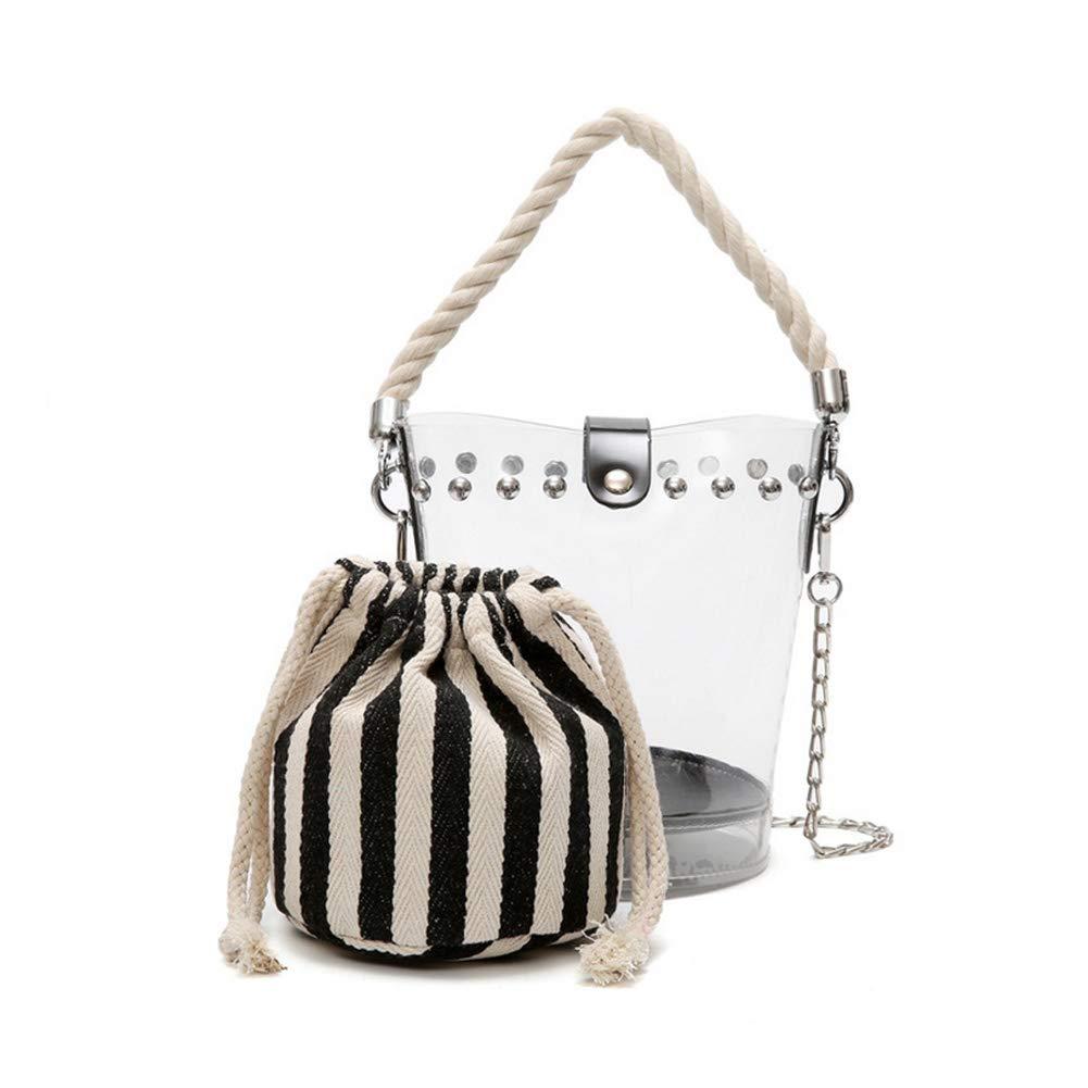 MOWANG PVC Transparent Bucket Bag Mini Shoulder Messenger Bag Handbag Jelly Bag (Black)