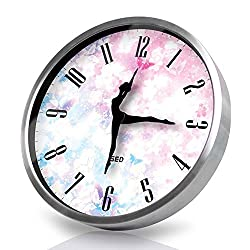 Dancing Clock-Silvery Wall Clock,12 Inch Silent Non Ticking Quality Quartz Battery Operated Easy to Read Home/Office/School Clock, With Ballet Dancer Pointer And Metal Frame(Cherry, Silver)