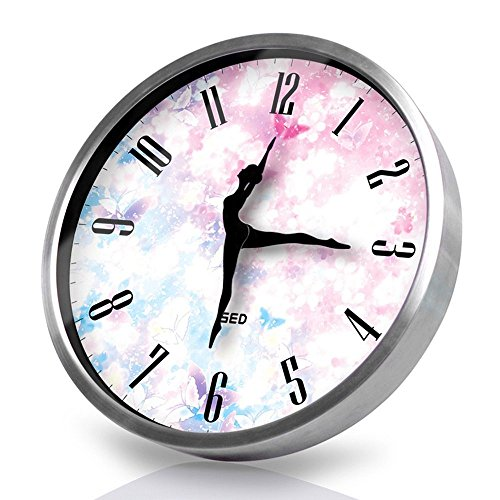 Dancing Clock-Silvery Wall Clock,12 Inch Silent Non Ticking Quality Quartz Battery Operated Easy to Read Home/Office/School Clock, with Ballet Dancer Pointer and Metal Frame(Cherry, Silver) by Color Map