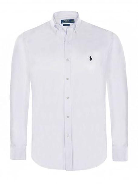 Polo Ralph Lauren - Camisa Casual - con Botones - Manga Larga - para Hombre Blanco Small: Amazon.es: Ropa y accesorios