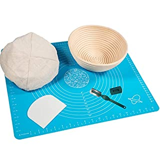 Banneton Proofing Basket for Artisan Bread - 9 Inch Brotform Sourdough Bread Bowl Linen Liner Cloth Bread Lame Dough Scraper and Silicone Baking Mat with Measurements for Professional and Home Bakers