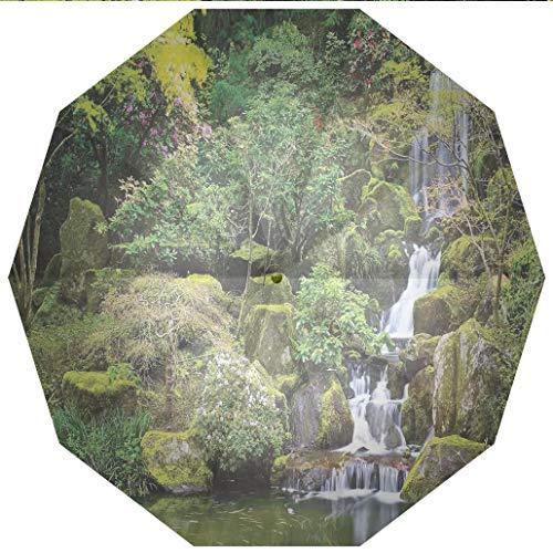 (Sun umbrella, umbrella UV Protection Auto Open Close Country Home Decor,Pond in Asian Style Garden Arboretum Trees Bush Foliage Rocks Windproof - Waterproof - Men - Women -Lightweight- 45 inches)