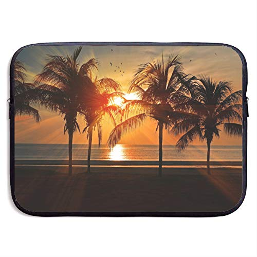 Classic Black Water Repellent Neoprene Laptop Sleeve Bag Cover Case Compatible 13 15 Inch, Computer Netbook Notebook Skin - Tropical Sunset Coconut Palm Tree