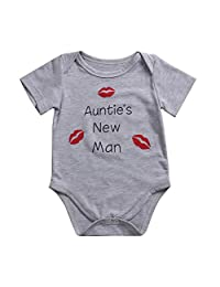 Baby Boys Girls White Romper Jumpersuit with Saying ''Mummy's Looks Daddy's Charm''