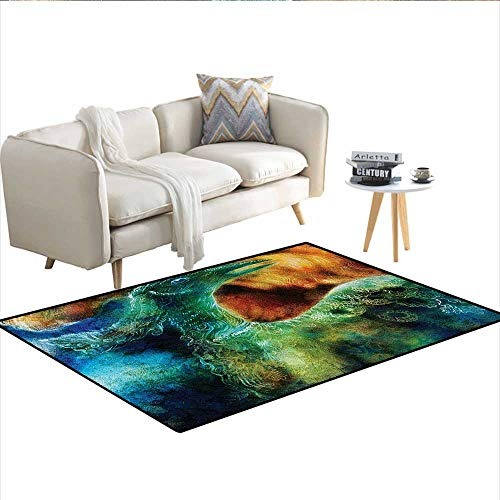 "Carpet,Mythical Legendary Phoenix Rebirth Long New Life from The Ashes Sun Exceptional Image,Print Area Rug,MultiSize:55""x63"""