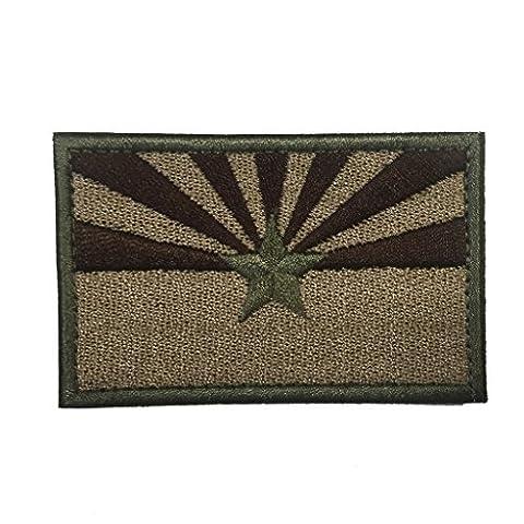 SpaceCar USA American State Arizona AZ Flag Military Tactical Morale Desert Badge Decorative Hook & Loop Backing Decal (Desert Arizona Flag Patch)