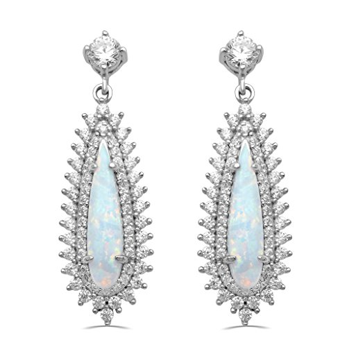 Jewelili Sterling Silver Pear Created Opal And Round Cubic Zirconia Drop Earrings