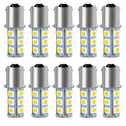 CIIHON 1156 BA15S LED Bulb Lights Warm White 6000K 1141 7506 P21W 18-5050SMD for Turn Signal Backup Reverse Interior Tail Bulbs Super Bright 12V Replacement(Pack of 10)