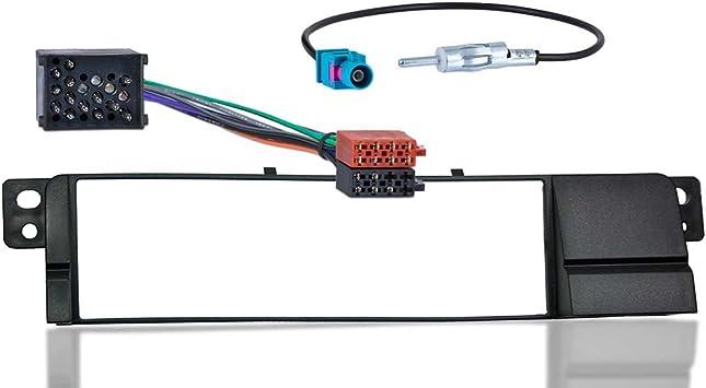 meins24 ohg - Set de instalación de radio para coche, compatible con BMW serie 3 E46, incluye parte frontal, cable adaptador y adaptador de antena ...