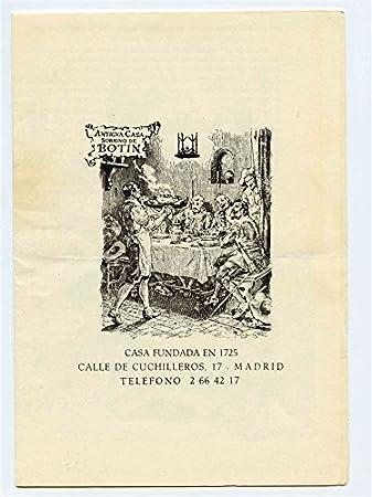 Amazon.com : Antigua Casa Sobrino de BOTIN Menu Madrid Spain ...