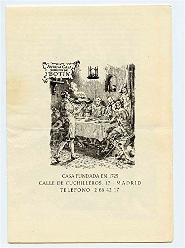 Amazon.com : Antigua Casa Sobrino de BOTIN Menu Madrid Spain ...