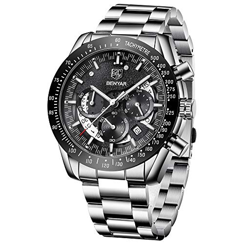 - Mens Waterproof Chronograph Analog Watch-BENYAR Luxury Business Dress watch Perfect for Birthday Gift