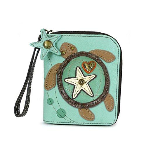 (CHALA Zip Around Wallet, Wristlet, 8 Credit Card Slots, Sturdy Pu Leather -Turtle - Blue)