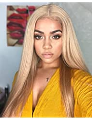 """FUHSI Kanekalon Fiber 13×6 Inch Lace Real Natural For Women – Soft & Smooth, Straight Lace Front Wig, Elastic Straps, Comfortable & Adjustable –Color 103# Blonde 250D 22"""""""