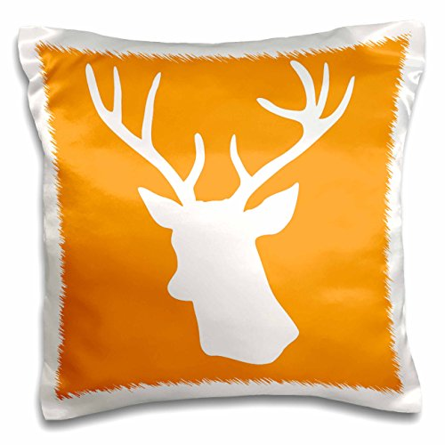 3dRose pc_179701_1 White Stag Head Silhouette on Orange C...