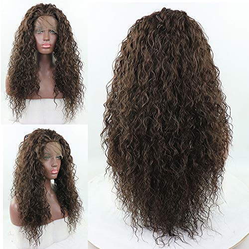 Loose Curly Lace Front Wig Brown Hair Heat Resistant Fibers Synthetic Lace Front Wig Glueless Half Hand Tied For All Women 24inch (Medium Brown) ()