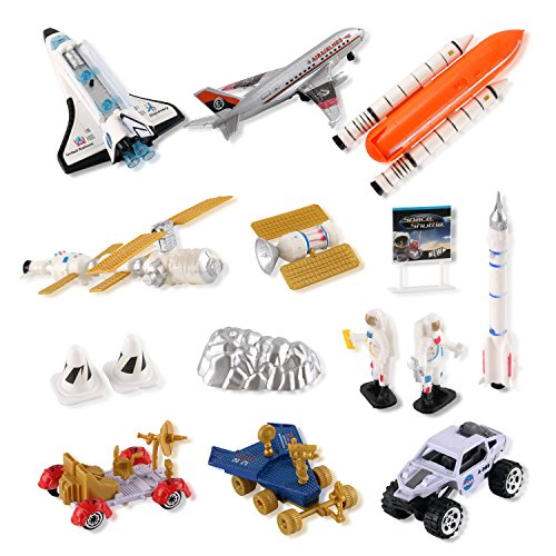 Liberty Imports Mission to Mars Space Shuttle Playset for Kids with Rockets, Satellites, Rovers & Vehicles ()