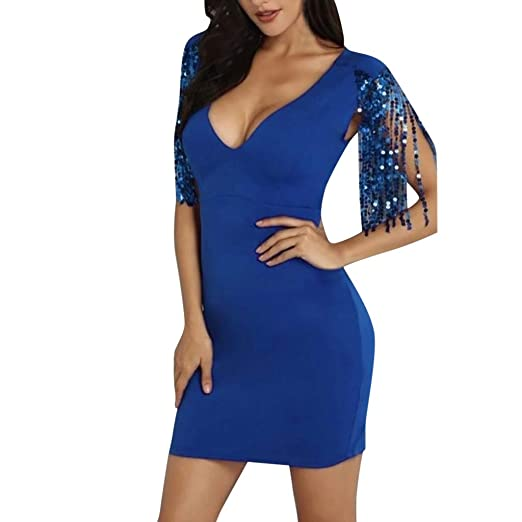 Amazon.com  Sexy Deep V-Neck Dress Women s Sparkle Glitzy Glam Sequin Short  Sleeve Flapper Party Club Dress Bodycon Cocktail Midi Dress  Clothing d49dfe1cdde5