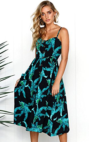 Spaghetti Dresses Swing Summer Midi Pockets Angashion 650 Women's Bohemian Button Black Dress Floral Down Strap BqxX5