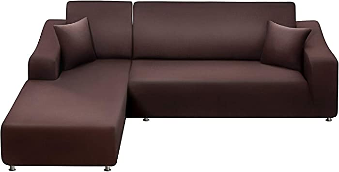LA MEACK Sofa Slipcover 3 Seats +3 Seats,Sectional Couch Covers 2-Piece, L-Shaped Sofa Covers Reversible Sofa Cover Furniture Protector Stretch Couch Slip Cover with 2 pcs Pillow Covers , Coffee