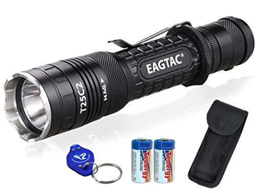 Bundle: EagleTac XP-L V5 T25C2 1250 Lumens 300 Yards Compact LED Tactical Flashlight with 2x CR123A Batteries, Heavy Duty Holster and Lumentac Keychain Light - G25C2 T20C2 Upgrade