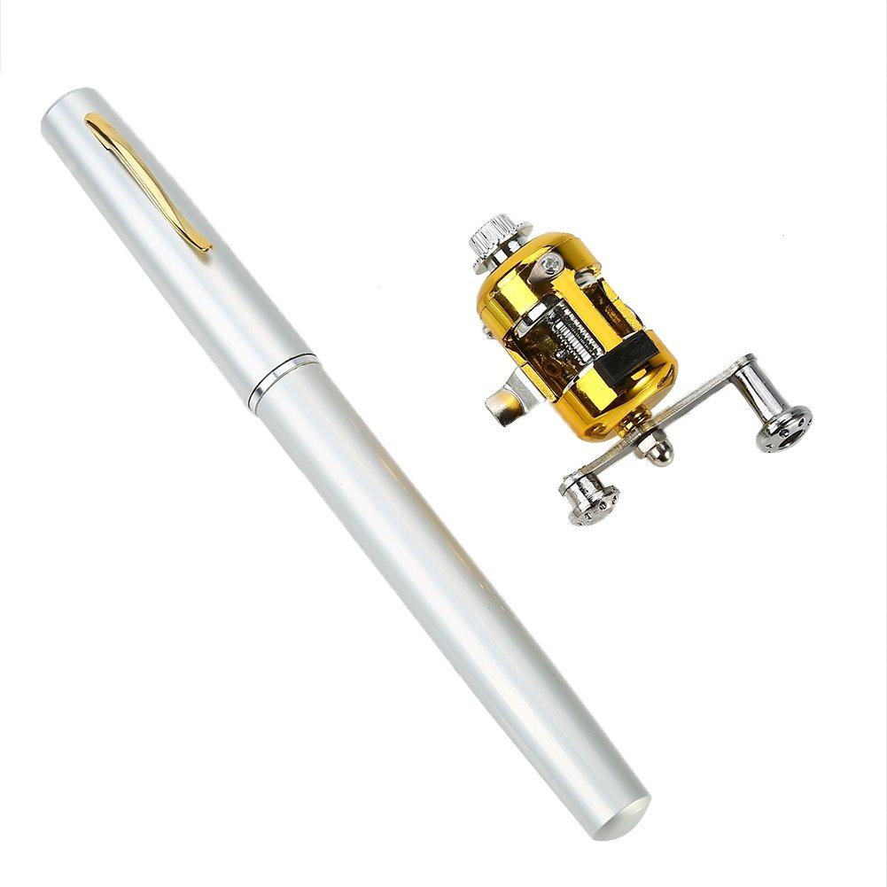 アウトドアミニ釣りロッドポータブルアルミニウム合金ペンポケット釣りポールリールホイール付き3色  シルバー B072BHVYYV