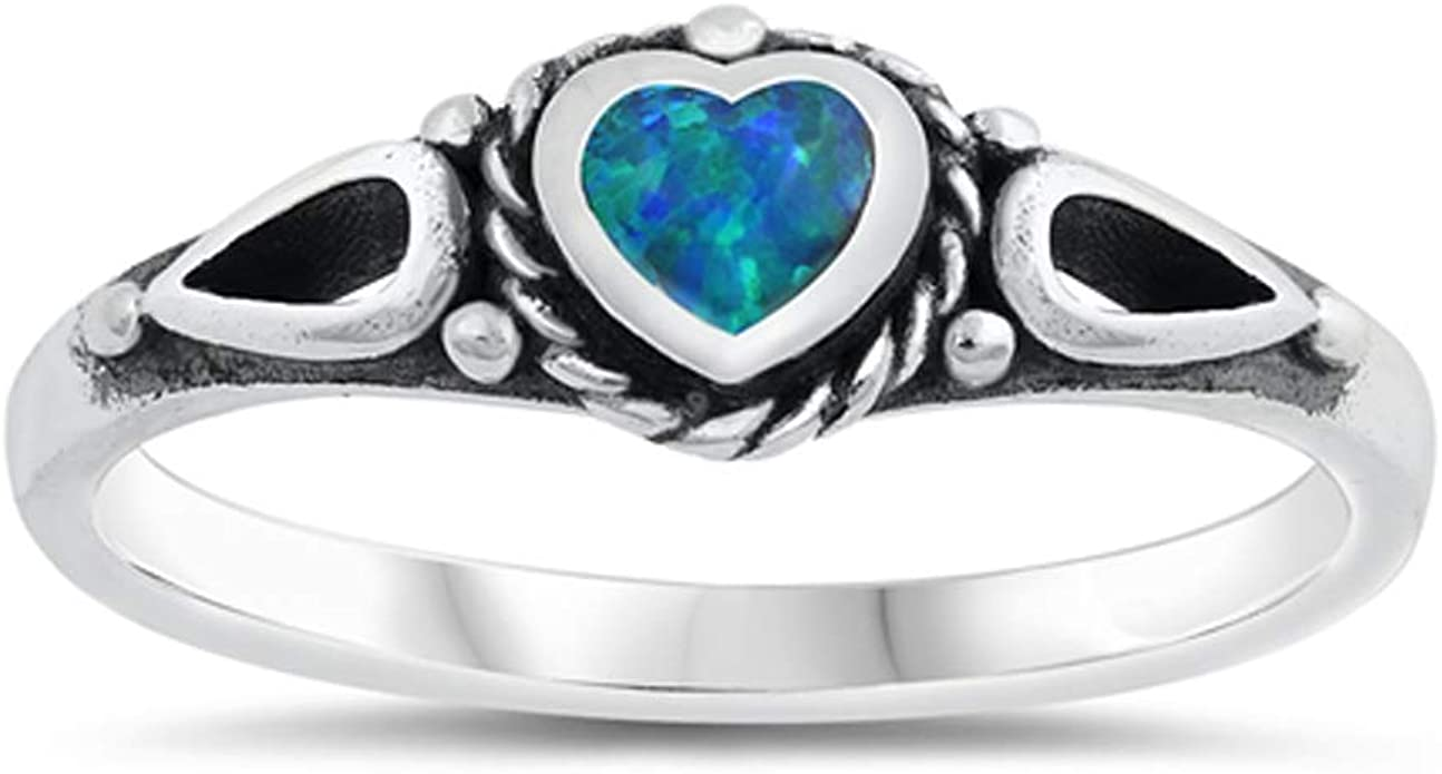 Blue Simulated Opal Heart Solitaire