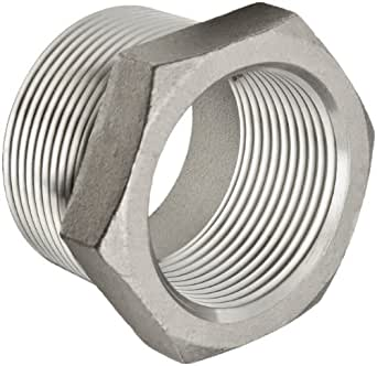"Stainless Steel 304 Cast Pipe Fitting, Hex Bushing, Class 150, 1/2"" NPT Male X 1/4"" NPT Female"