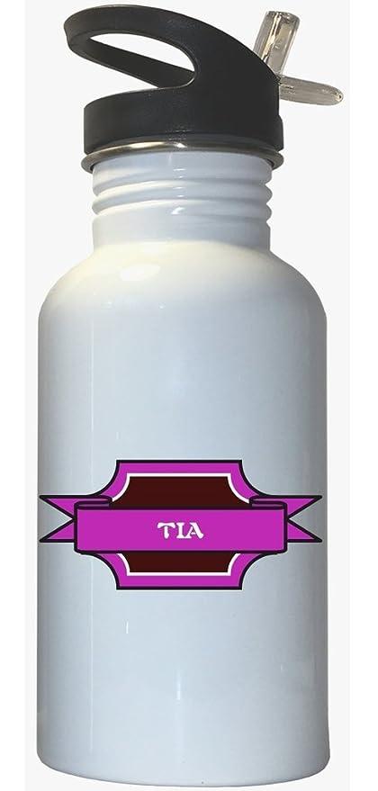 Amazon.com: TIA – Niña nombre blanco botella de agua de ...