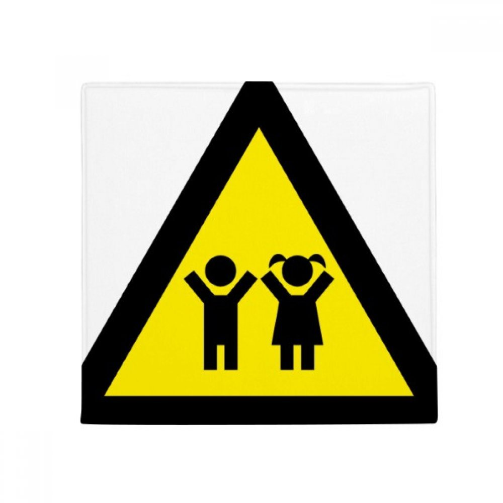 DIYthinker Warning Symbol Yellow Black Kids Triangle Anti-Slip Floor Pet Mat Square Home Kitchen Door 80Cm Gift