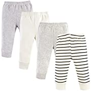 Luvable Friends Baby Cotton Tapered Ankle Pants, Cream Stripes 4 Pack, 0-3 Months