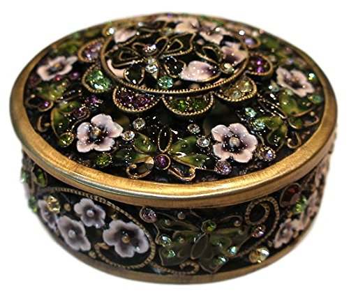 Welforth Jeweled Enamel & Crystal Filigree Green Butterfly Enamel Trinket Box - Butterfly Green Trinket Box