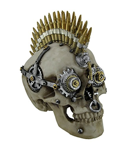 Zeckos Resin Statues Steampunk Rock Bullet Mohawk Skull Statue 8.5 X 7.5 X 5 Inches Tan -