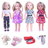 CUTE Clothes for American Girl Dolls:- 4set+4shoes for 14.5inch Wellie Wisher Dolls