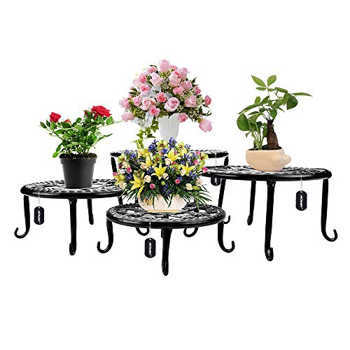 Metal Plants Stand Flowerpot Holder Iron Art Pot Holder, AISHN Flower Pot Supporting Indoor Outdoor Garden Pack of 4pcs with Different Size (Stand Plant Outdoor Metal)