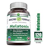 Amazing Nutrition Melatonin - 10 Mg 120 Tablets (Non-GMO)- Best Choice of Natural Sleep Aid Supplement - Promotes Calming and Relaxing Effect -Suitable for Vegetarian