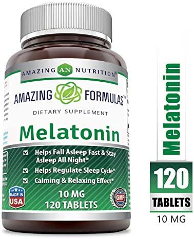 Amazing Nutrition Melatonin – 10 Mg 120 Tablets (Non-GMO)- Best Choice of Natural Sleep Aid Supplement – Promotes Calming and Relaxing Effect -Suitable for Vegetarian