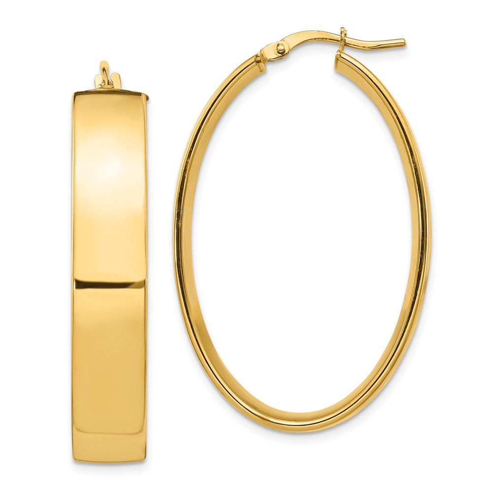 Leslies Real 14kt Yellow Gold Polished Oval Hoop Earrings