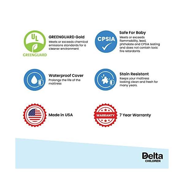 Delta Children Twinkle Stars Fiber Core Crib and Toddler Mattress | Waterproof | Lightweight | GREENGUARD Gold Certified (Natural/Non-Toxic) 5